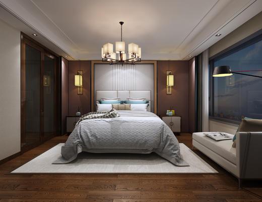 卧室, 现代卧室, 吊灯, 床, 床头柜