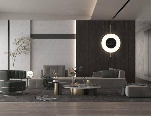 沙发组合, 墙饰, 茶几, 单椅, 植物