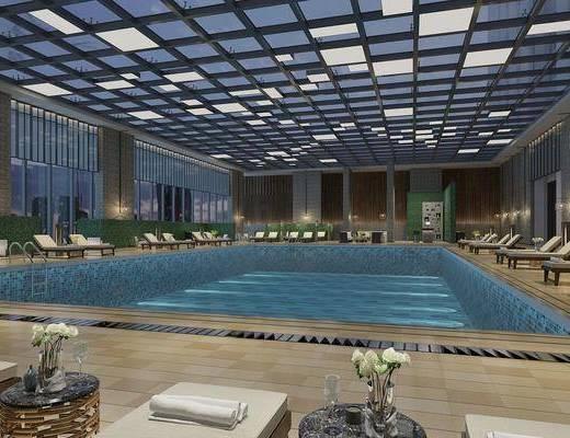 游泳馆, 现代游泳馆, 泳池, 休闲椅