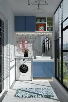 阳台, 现代阳台, 洗衣机