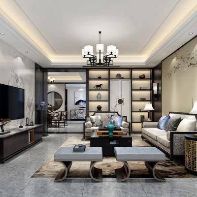 新中式客餐厅, 新中式客厅, 新中式餐厅, 新中式沙发, 中式餐桌椅, 中式吊灯, 中式装饰画