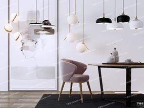 椅子, 桌子, 吊灯, 装饰画, long8.cc龙8国际pt娱乐, 北欧