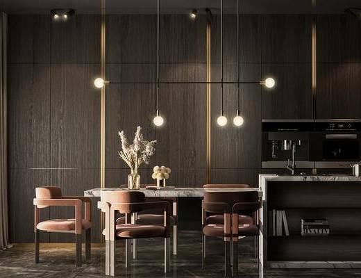 餐桌, 桌椅组合, 吊灯, 餐具组合, 电器