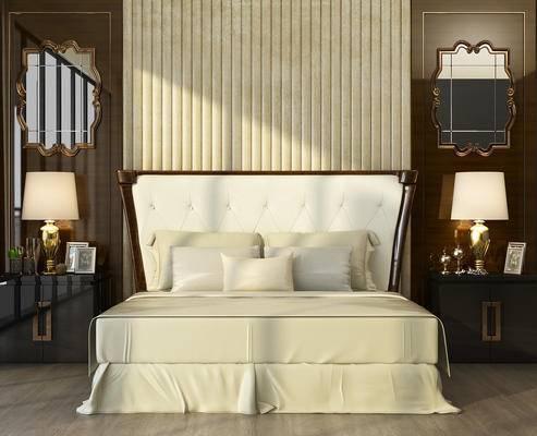 中式卧室, 卧室, 床, 床头柜, 镜子, 台灯