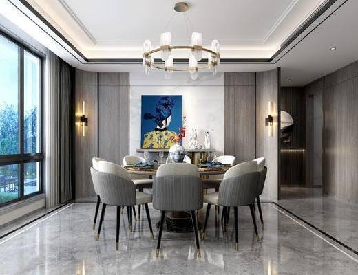 桌椅组合, 吊灯, 装饰画, 壁灯