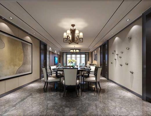 餐厅, 餐桌, 餐椅, 圆桌, 单人椅, 餐具, 墙饰, 吊灯, 装饰画, 挂画, 新中式