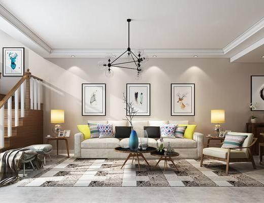 客厅, 北欧客厅, 沙发组合, 沙发茶几组合, 电视柜, 吊灯