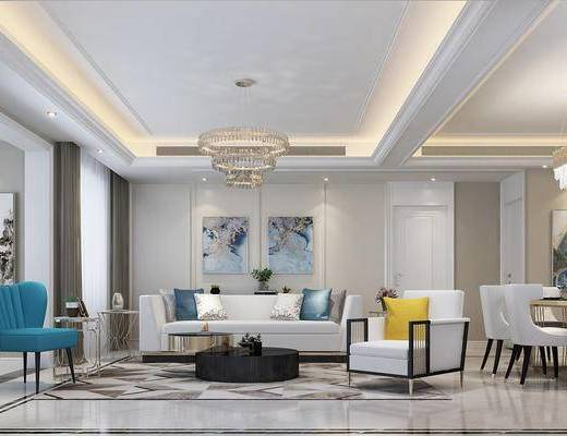 现代, 法式, 客餐厅, 沙发, 茶几, 水晶吊灯, 餐桌椅, 挂画