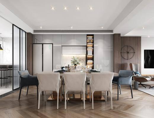 餐厅, 餐桌, 桌椅组合, 墙饰, 餐具