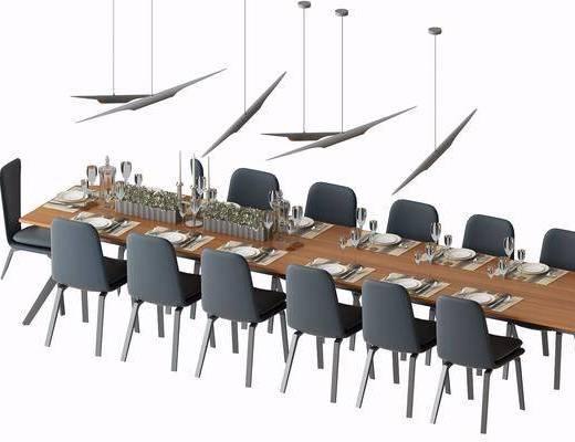 会议桌, 餐桌, 餐椅, 单人椅, 摆件, 餐具, 吊灯, 现代