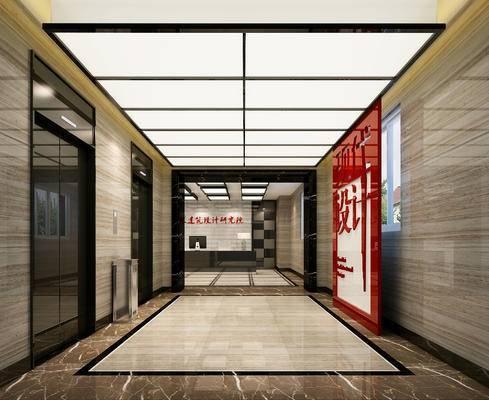 电梯间, 电梯厅, 电梯, 走廊, 过道