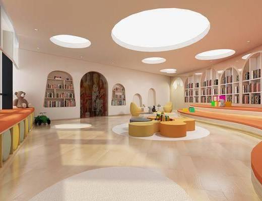 图书室, 装饰柜, 书柜, 书籍, 玩具, 桌子, 装饰品, 陈设品, 现代