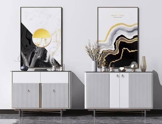 矮柜, 裝飾掛畫, 邊柜, 擺件組合