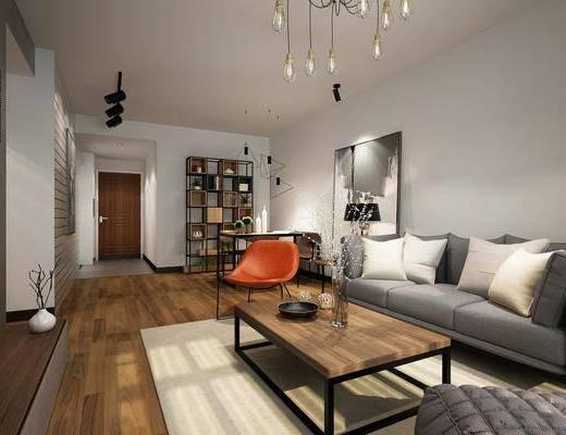 沙发组合, 茶几, 吊灯, 装饰画, 餐桌, 桌椅组合