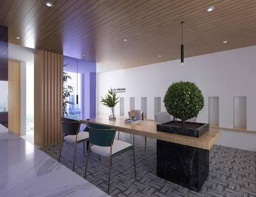 休闲区, 现代休闲区, 吧台吧椅, 绿植盆栽