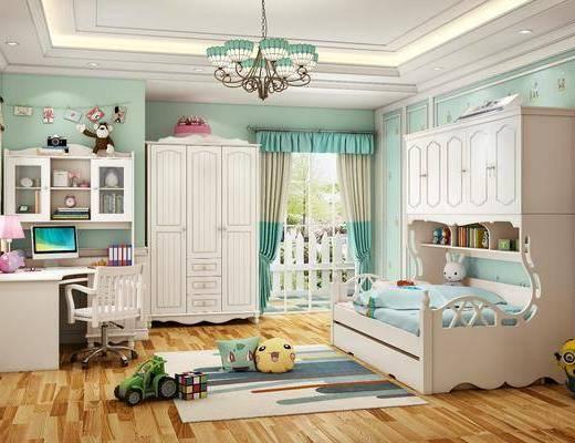 单人床, 上下铺, 吊灯, 写字桌, 衣柜, 地毯, 玩具