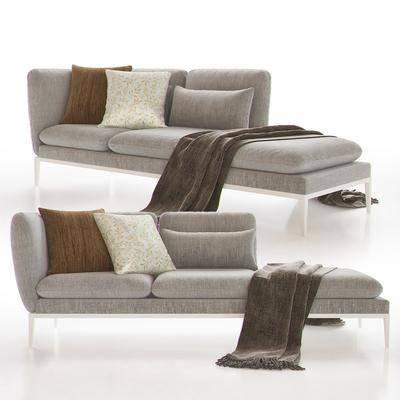多人沙发, 贵妃椅, 布艺, 现代, 毛巾