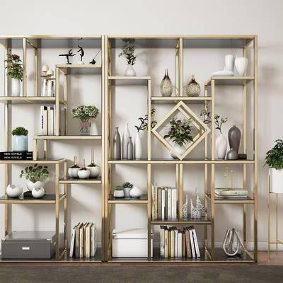 柜架组合, 置物架, 摆件, 现代置物架, 轻奢, 装饰品, 书籍, 书本, 植物, 盆栽, 现代