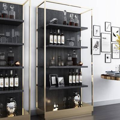 酒柜, 摆件, 挂画, 现代, 红酒, 酒瓶, 置物架