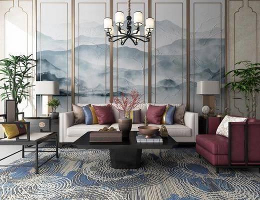 沙发组合, 茶几, 新中式沙发茶几组合, 单椅, 椅子, 植物, 盆栽, 吊灯, 案几, 台灯, 摆件, 装饰品, 新中式
