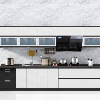 现代简约厨柜器具摆件电饭煲, 现代, 厨房, 橱柜, 餐具, 厨具, 电饭煲, 吊柜, 抽油烟机, 煤气灶