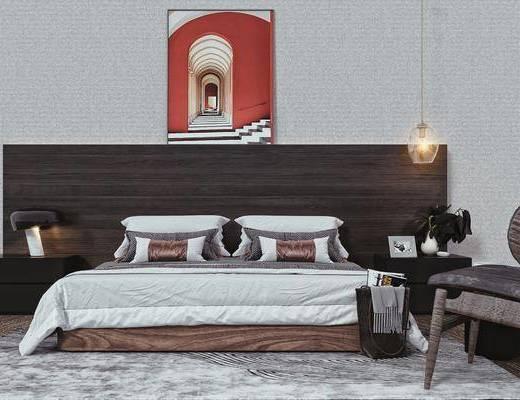 双人床, 床头吊灯, 床头柜, 休闲椅, 摆件