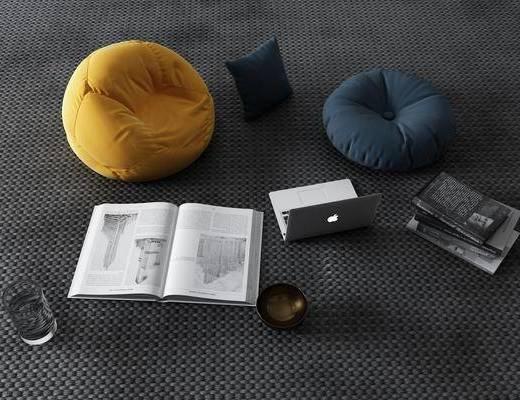现代, 懒人, 懒人沙发, 书籍, 3D模型