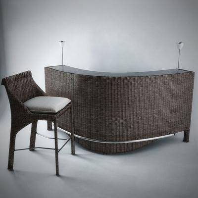 吧台, 吧椅, 装饰灯, 现代