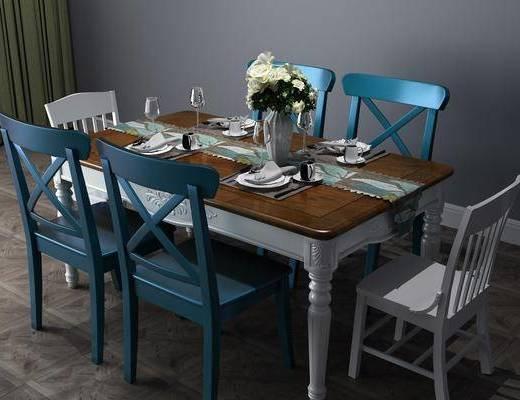 地中海餐桌, 餐桌, 餐桌椅, 桌椅组合