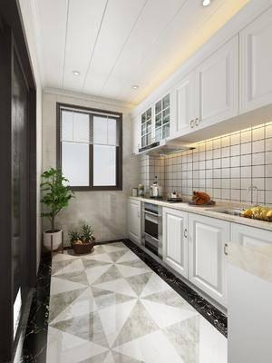 厨房, 橱柜, 盆栽, 树木, 摆件, 装饰品, 陈设品, 现代