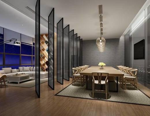 会议室, 中式, 桌子, 椅子, 屏风, 隔断