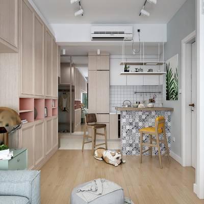餐厅, 厨房, ?#21830;? 吧椅, 吊灯, 置物柜, 摆件, 装饰品, 橱柜, 厨具, 餐具, 宠物狗, 北欧