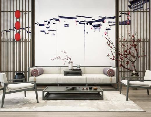 新中式沙发, 沙发组合, 沙发茶几组合