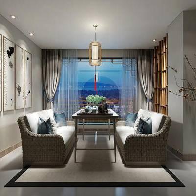 茶室, 新中式, 藤编, 灯具, 挂画