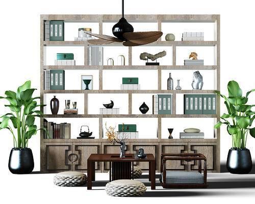 风扇灯, 垫子, 坐垫, 茶桌, 实木茶桌, 茶具, 书架, 隔断, 隔断柜, 装饰架, 中式, 新中式