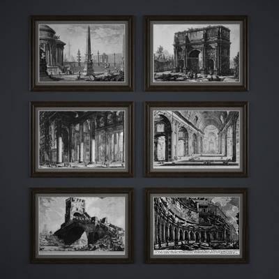 挂画, 黑白, 建筑, 建筑挂画, 现代