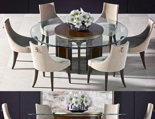 美式餐桌, 餐桌组合, 餐桌, 椅子, 美式, 下得乐3888套模型合辑