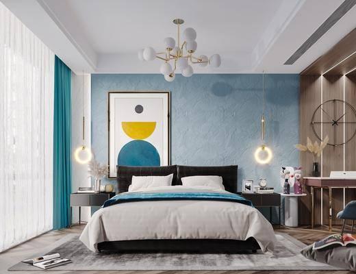 双人床, 床具组合, 吊灯, 墙饰, 床头柜