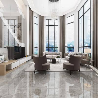别墅, 客厅, 餐厅, 多人沙发, 茶几, 边几, 台灯, 单人沙发, 双人沙发, 餐桌, 餐椅, 单人椅, 楼梯, 装饰画, 吊灯, 冰箱, 现代