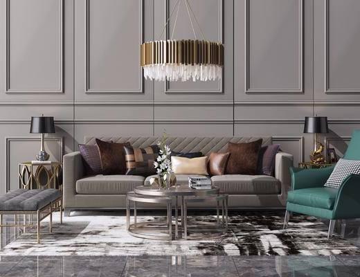 沙發組合, 沙發茶幾組合, 吊燈組合, 新中式