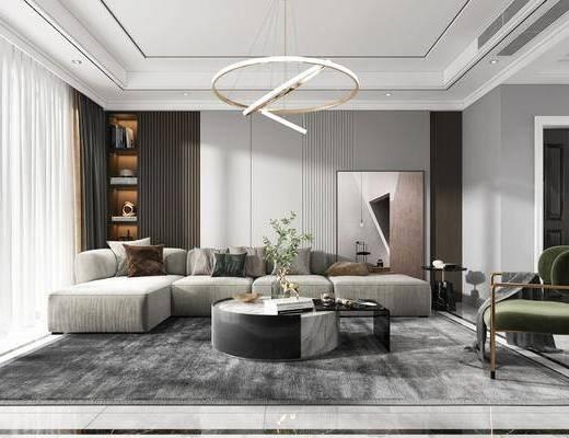 现代, 客厅, 餐厅, 转角沙发, 边几, 休闲椅, 装饰画
