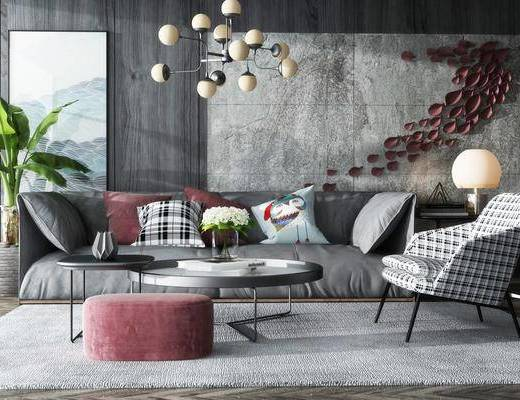现代沙发茶几组合, 现代, 沙发, 茶几, 现代吊灯, 植物, 台灯, 椅子