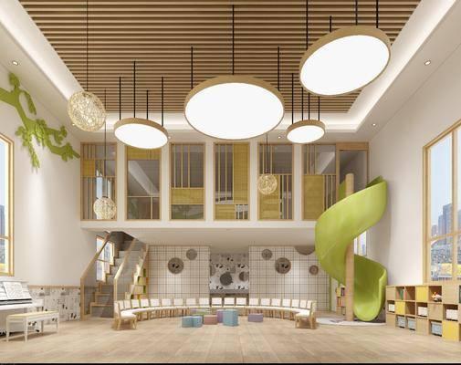 幼儿园教室, 吊灯组合, 椅子组合, 小便池, 装饰柜组合, 摆件组合, 现代