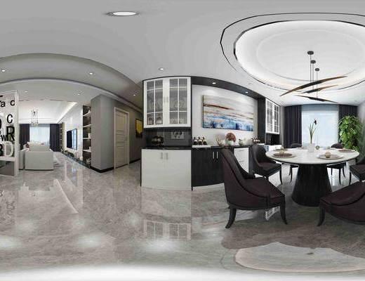 客厅, 现代客厅, 餐桌椅, 沙发组合, 床, 客餐厅