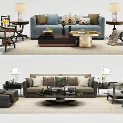 中式, 沙发组合, 沙发茶几, 新中式, 沙发茶几组合, 多人沙发, 单椅, 休闲椅, 花瓶