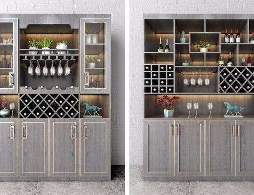新中式酒柜组合, 酒柜, 新中式