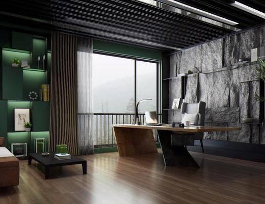 桌椅組合, 辦公桌, 背景墻, 沙發組合, 茶幾