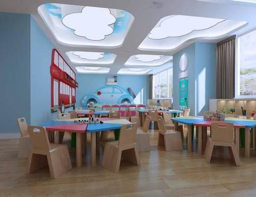 幼儿园, 桌椅组合, 置物柜, 吸顶灯, 墙饰