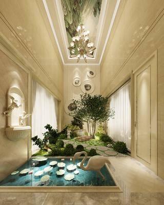室内景观, 花园庭院, 绿植植物, 吊灯, 欧式