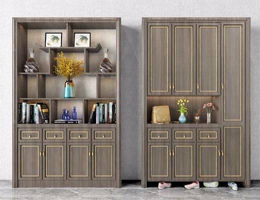 鞋柜, 装饰柜, 书籍, 摆件, 装饰品, 陈设品, 新中式